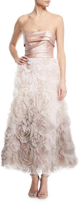 Marchesa Ombre Textured Tea Dress w/ Draped Bodice