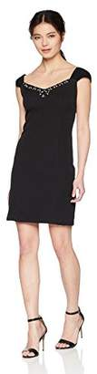 Jessica Howard Women's Petite Crepe Bodycon Cocktail Dress with Chiffon Cap Sleeves
