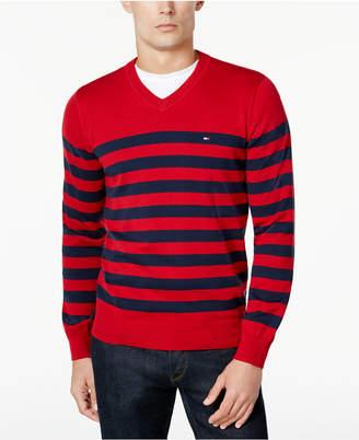 Tommy Hilfiger Men's Signature Seattle Striped V-Neck Sweater $49.98 thestylecure.com