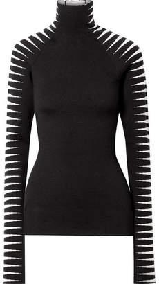 Haider Ackermann Wool And Silk-blend Jacquard Turtleneck Sweater - Black