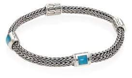 John Hardy Classic Chain Extra Small Turquoise& Sterling Silver Four-Station Bracelet