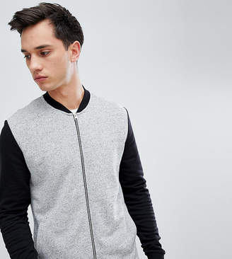 Asos DESIGN tall jersey bomber jacket in gray nep with contrast sleeves