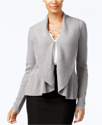 Cable & Gauge Ruffled Shawl-Collar Cardigan $60 thestylecure.com