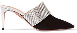 Aquazzura Rendez Vous Leather And Suede Mules - Black