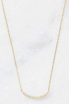 South Moon Under CZ Curved Bar Delicate Necklace