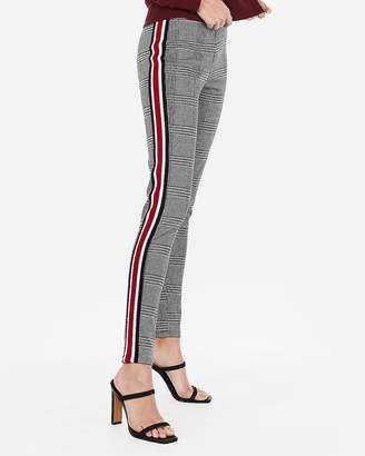 d0c322bc597132 Express High Waisted Plaid Side Stripe Leggings