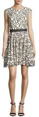 Monique Lhuillier Floral Lace Cap-Sleeve Dress, White/Black
