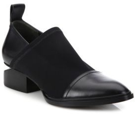 Alexander Wang Kori Tilt-Heel Stretch Neoprene & Leather Booties $475 thestylecure.com