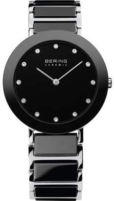 Bering BERING Ladies Black Ceramic Bezel and smooth link watch