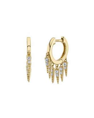 Sydney Evan Large Pave Diamond Fringe Hoop Earrings