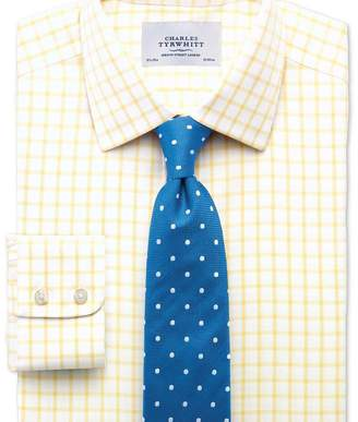 Charles Tyrwhitt Extra slim fit non-iron twill grid check light yellow shirt