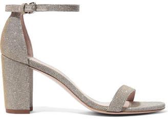 Stuart Weitzman Nearlynude Metallic Lamé Sandals - Silver