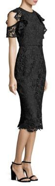 Shoshanna MIDNIGHT Ruffle Cold-Shoulder Lace Midi Dress $550 thestylecure.com