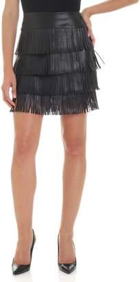 Patrizia Pepe Faux Leater Fringed Skirt