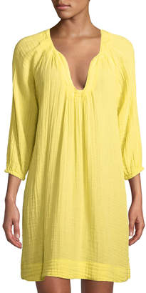 Three Dots Long-Sleeve Gauze Coverup Dress
