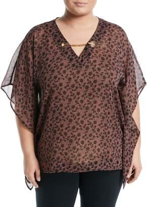 MICHAEL Michael Kors Flutter-Sleeve Chain-Neck Tunic, Plus Size