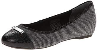 Rockport Women's Total Motion 20mm Cap Toe Skimmer w/Medallion Black Fabric/Croc Cap 7.5 W (C)