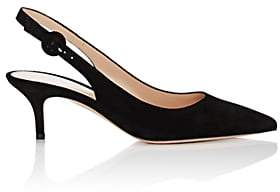 Gianvito Rossi Women's Anna Suede Slingback Pumps - Black