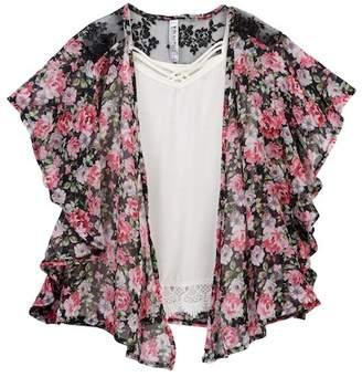 Beautees Crochet Trim Tank & Floral Kimono (Big Girls)