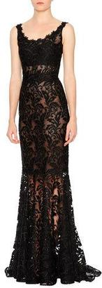 Dolce & Gabbana Sleeveless Round-Neck Lace Gown, Black $7,495 thestylecure.com