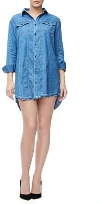 Good American The Released Hem Denim Shirt Dress - Blue127