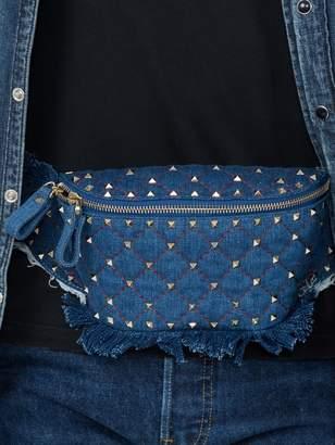 Valentino Rockstud quilted denim belt bag