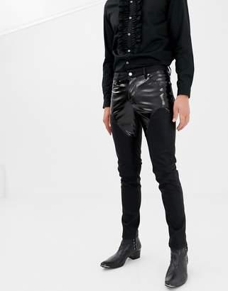 Asos Design DESIGN skinny jeans in PU with western yolk