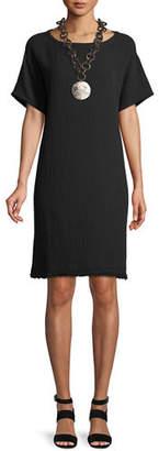 Eileen Fisher Short-Sleeve Lofty Organic Cotton Gauze Dress