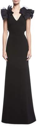 Sachin + Babi Mirabella Ruffle-Shoulder V-Neck Gown