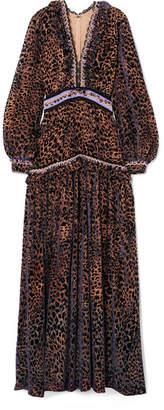 Costarellos - Velvet And Lace-trimmed Leopard Devoré-chiffon Gown - Leopard print