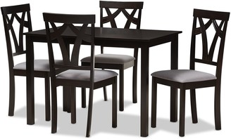 Baxton Studio Modern Gray Upholstered Chair & Table Dining 5-piece Set