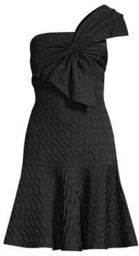 Josie Natori Textured Geometric Jacquard One-Shoulder A-Line Dress