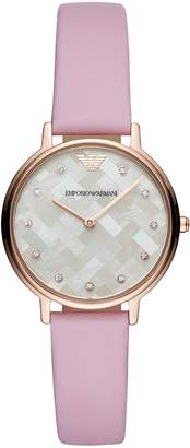 Emporio Armani Women's Quartz Stainless Steel and Leather Casual Watch, Color (Model: AR11130)