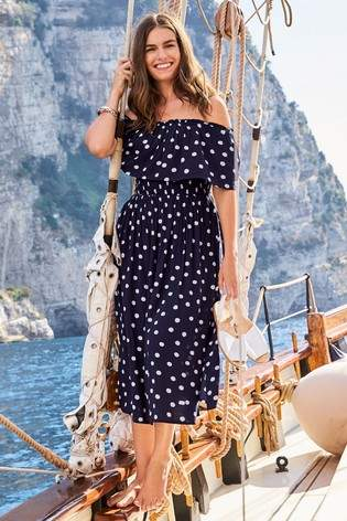 Womens Next Navy Spot Off The Shoulder Dress