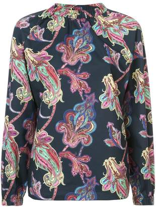 Tibi paisley print shirred neck blouse