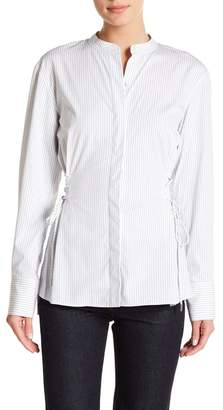 Theory Lace-Up Pinstripe Shirt