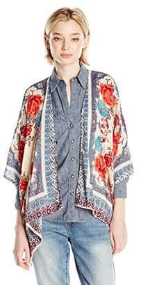 Angie Junior's Rose Printed Soft Kimono Cardigan