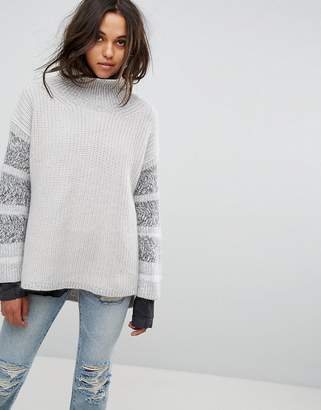 AllSaints Keats Oversized Funnel Neck Jumper With Contrast Panels