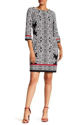 Sandra Darren Paisley Elbow Sleeve Sheath Dress