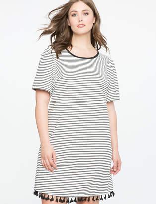 ELOQUII Striped Tee Dress with Tassel Hem