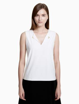 Calvin Klein v-neck hardware sleeveless top