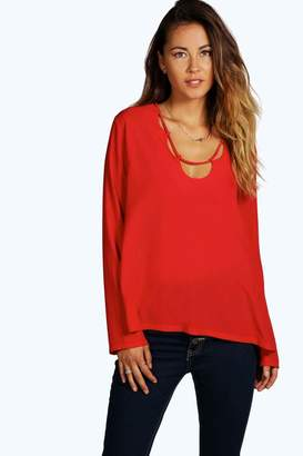 boohoo Loop Neck Detail Blouse