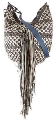 Marc Jacobs Snakeskin-Trimmed Fringed Hobo Bag