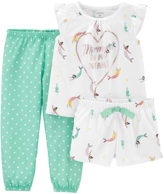 "Carter's Toddler Girl Mermaid"" top, Shorts & Pants Pajama Set"