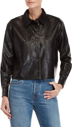 Romeo & Juliet Couture Romeo + Juliet Couture Black Faux Leather Cropped Shirt