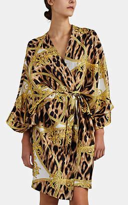 Versace Women's Leopard & Baroque-Print Silk Robe