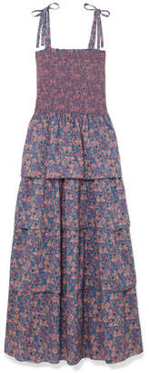 LoveShackFancy Caressa Smocked Tiered Floral-print Cotton Maxi Dress - Indigo