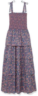 LoveShackFancy Caressa Smocked Tiered Floral-print Cotton Maxi Dress - Indigo