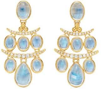 Temple St. Clair 18K Yellow Gold Seta Small Moon Blue Moonstone & Diamond Drop Earrings