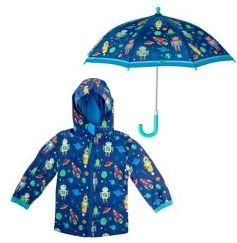 Robot Raincoat & Umbrella Set